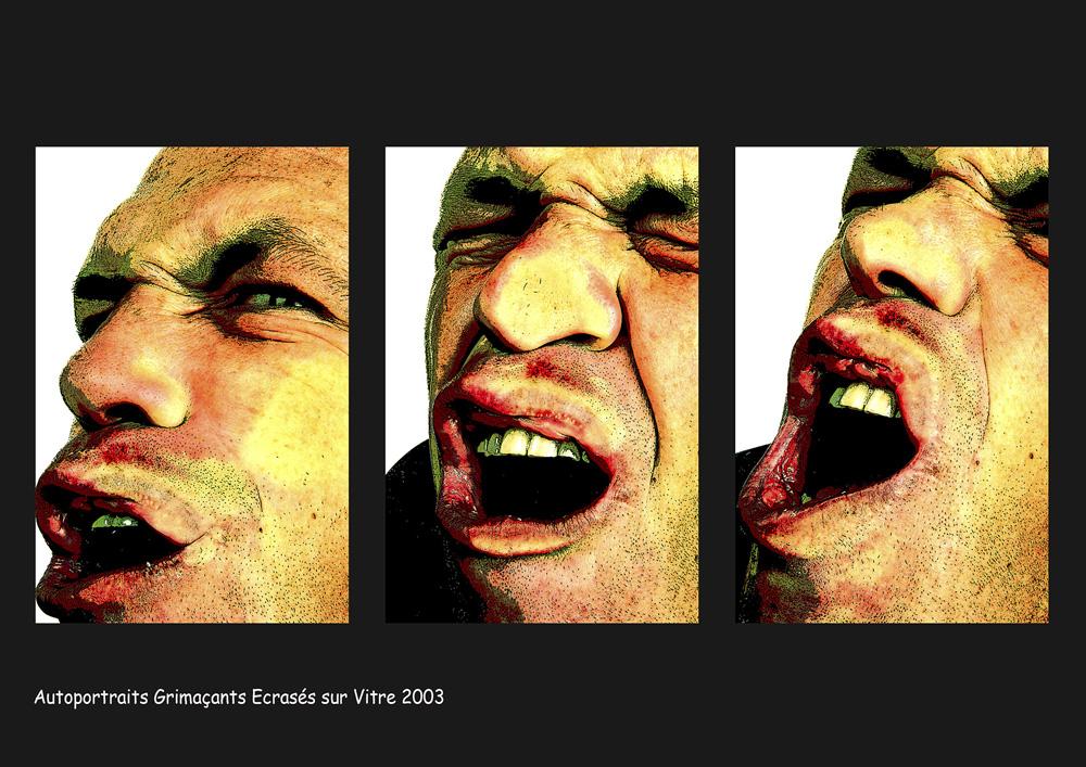 Autoportrait Grimaçant écrasé sur vitre